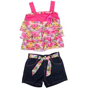 28232 - Girls Flower Tier Top & Denim Shorts