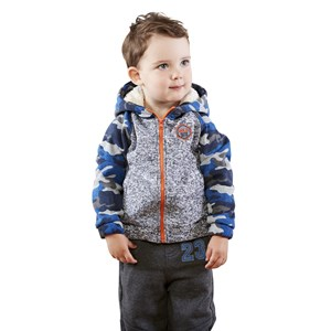28415 - Toddler Boys Sweater Jacket with Sherpa Lined Hood
