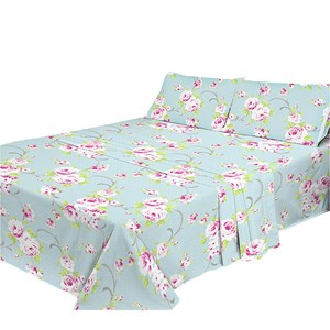 29305 - Blue Floral Polycotton Sheet Set (King)