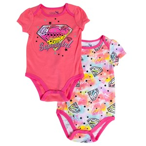 Infant Girls Supergirl 2 Pack Romper Set