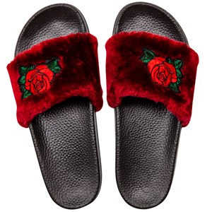 30234 - Fur Slide with Rose Embroidery