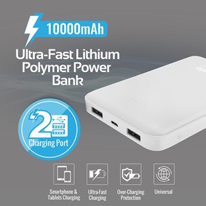 30337 - Promate Powerbank 10000mAh Dual USB & Car Charger