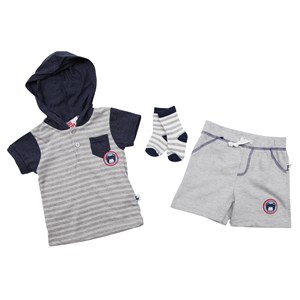 30425 - Sport Infant Boys Hooded Stripe Bear 3pc Shorts Set