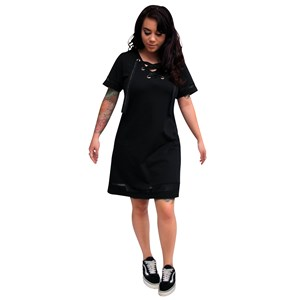 30457 - Lace Up T-Shirt Dress