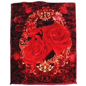 31140 - Floral Red Mink Blanket