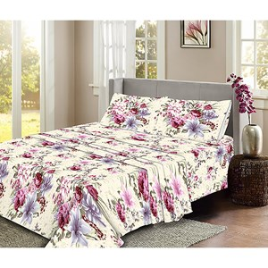 31593 - Flannelette Floral Sheet Set Single
