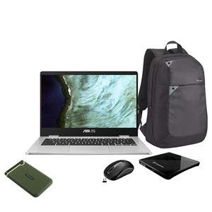 32009 - Asus Chromebook + external DVD writer, Laptop Bag, Rapoo Wireless mouse and Transcend Storejets Port